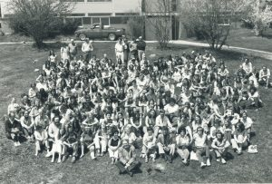 old black and white photo of a graduating class