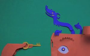 Drawing of a dragon and a key