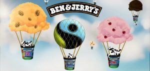Image of 4 hot air balloons comprised of ben and jerry's containers and ice cream scoops as the balloon