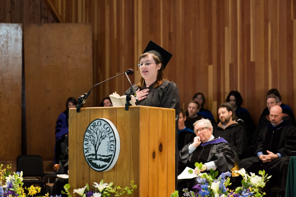 Fiona Craig gives the student address, on the theme of forgiveness, at Marlboro's 2018 commencement.