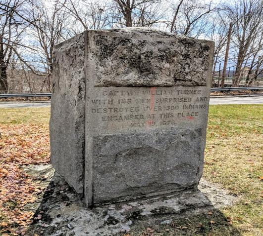 A memorial to the 1676 Turner's Falls massacre.
