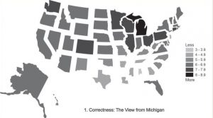 """A map of """"correctness"""" of English language usage in the US from the perception of English speakers in Michigan."""