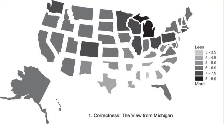 "A map of ""correctness"" of English language usage in the US from the perception of English speakers in Michigan."