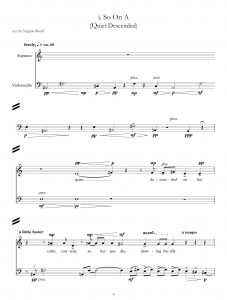 """Musical score for soprano and violoncello by Helen Pinch, titled """"So On A (Quiet Descended) with text by Virginia Woolf"""