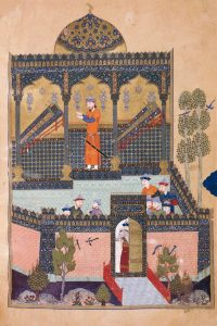 In an illustration from the Shahnameh, Rostam mourns the death of his father and his uncle.