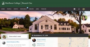 The home page for Branch Out offers students and alumni many resources and points of interest.