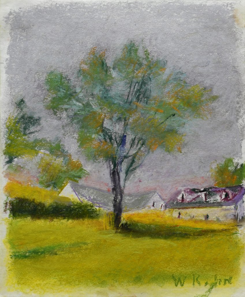 Painting of a tree in front of buildings