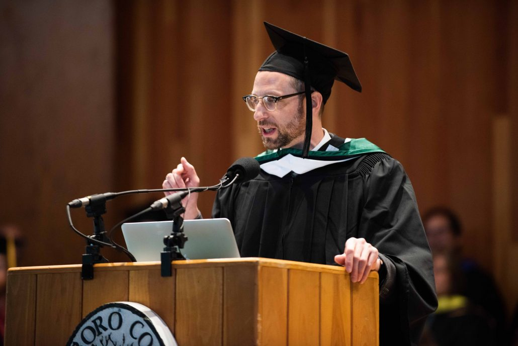 Sean Cole delivering the Commencement Address