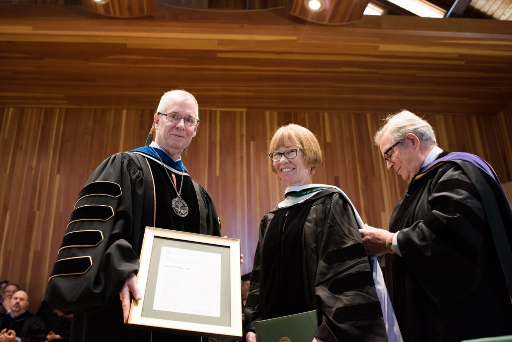 Sara Coffey receiving honorary degree