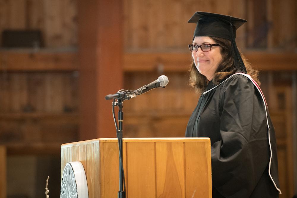 Lori Hanau delivers remarks