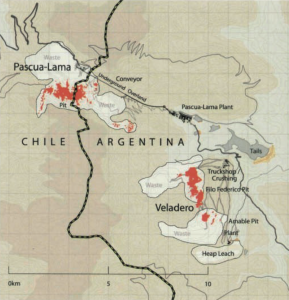 A map of mining operations on the Chile-Argentina border.