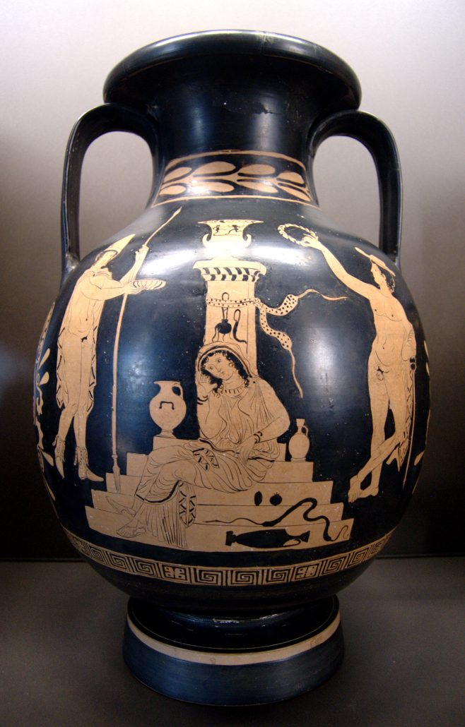 A vase with illustrations based from a scene from Oresteia