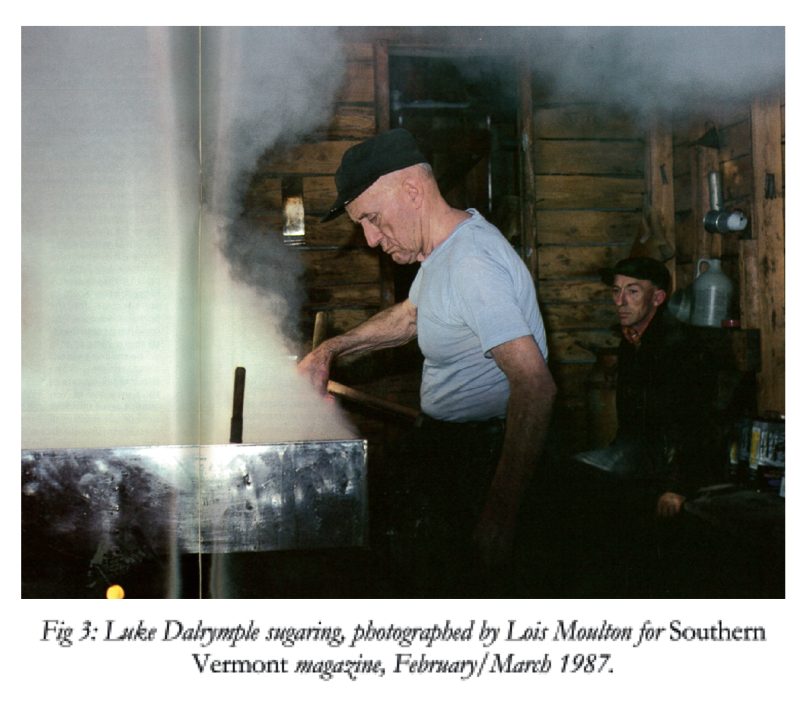 Old man sugaring in sugar house