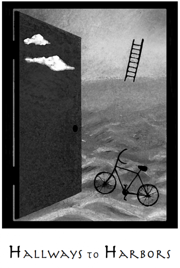 Abstract image of a bicycle, ladder, clouds and waves with the title Hallways to Harbors
